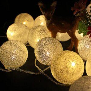 Cordão Fio De Luz Luminária 15 Bolas Barbante Cotton Branco Quente